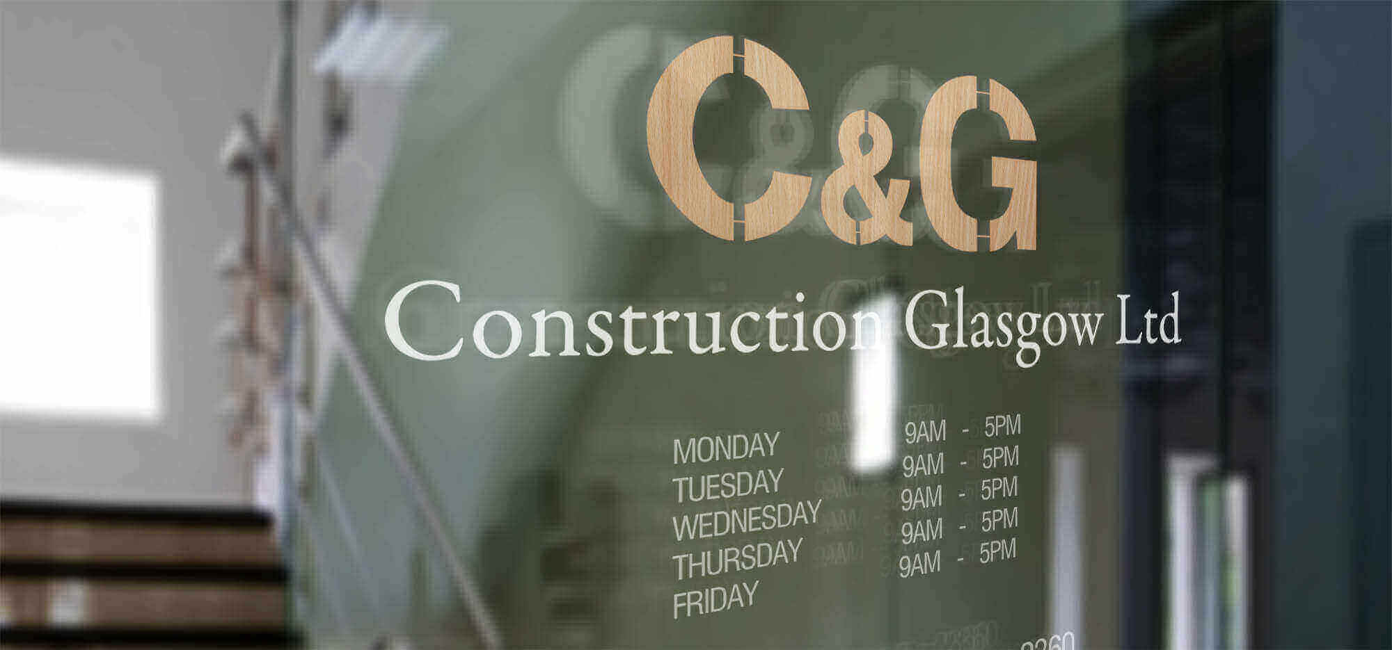 CG Construction Head office Window Signage