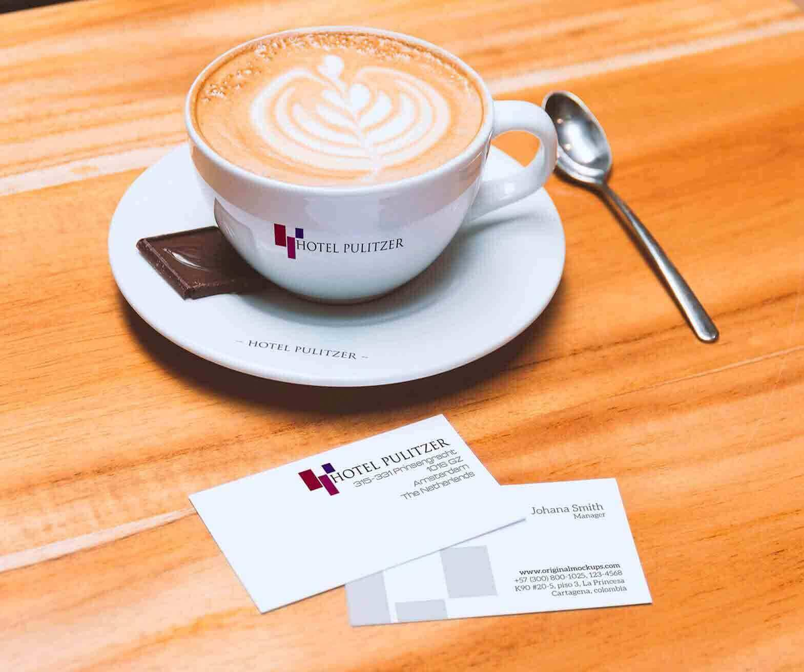 Hotel Pulitzer Business Card & Coffee Cup design