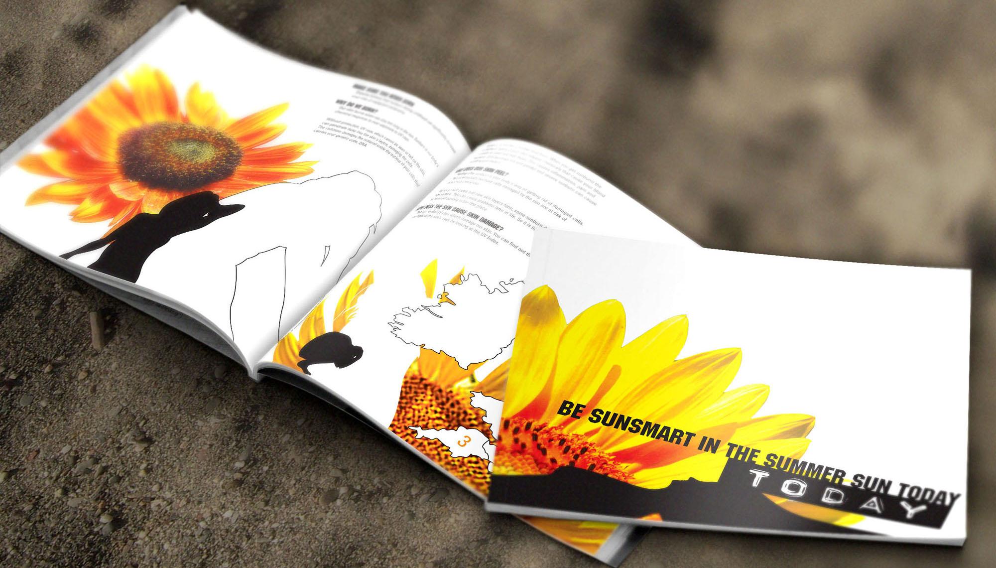 Cancer Research Brochure Design exposing dangers of sun exposure