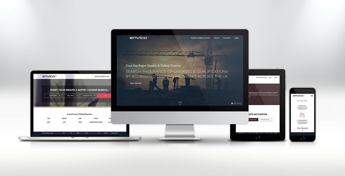 Envico, UK website with mobile views across platforms